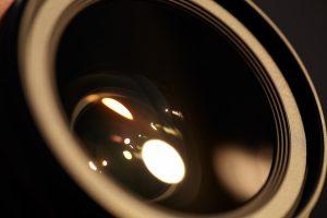 close up of video camera lens