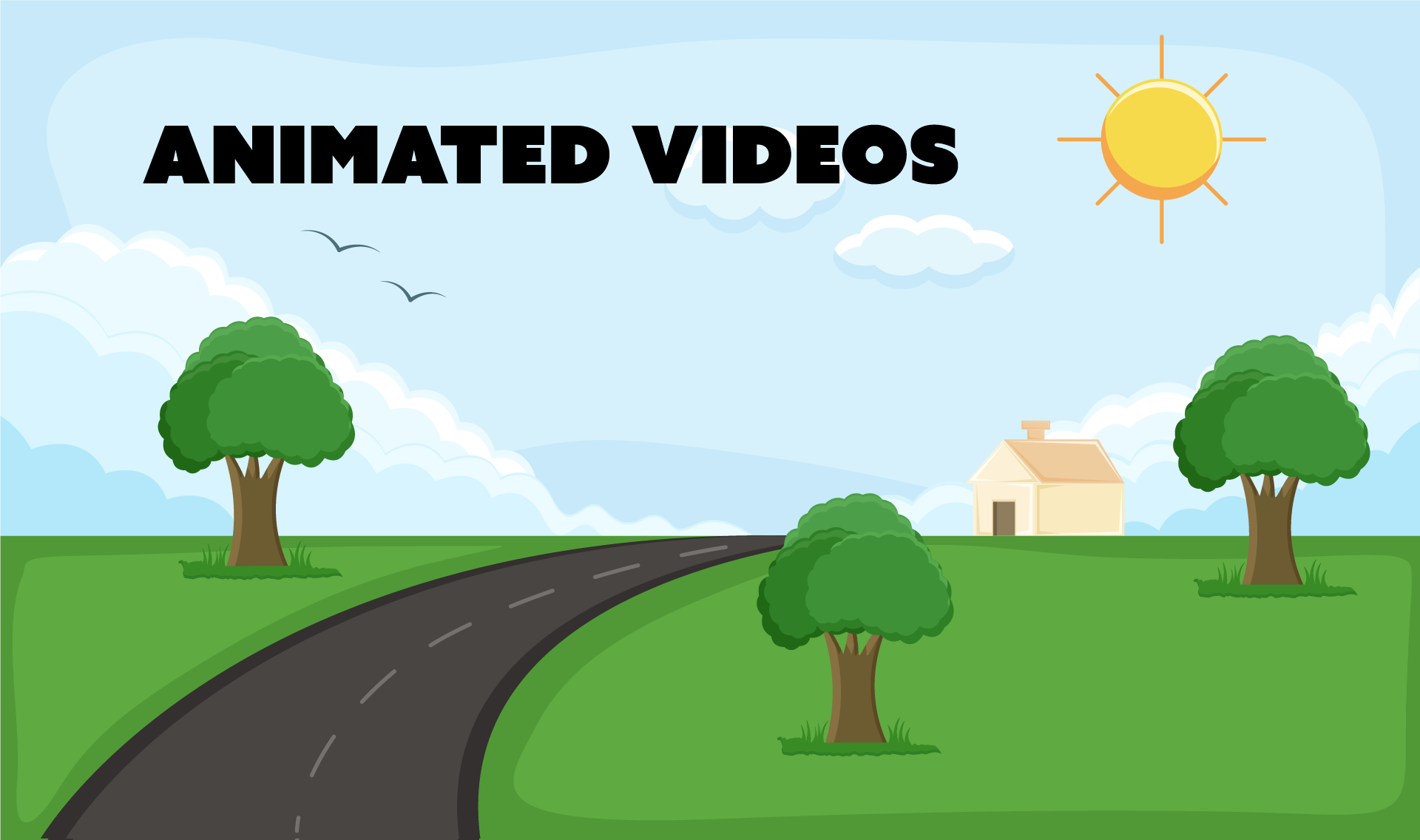 animated video illustration of a road through fields